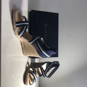 Ralph Lauren blue/white stripe espadrilles